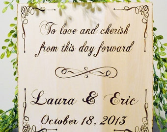 Wedding Personalized Wood Burned or Hand Painted Wooden Canvas