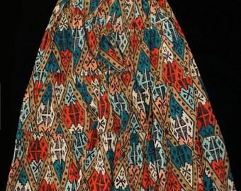 Southwestern Tiered Maxi Skirt Navajo Ikat Print