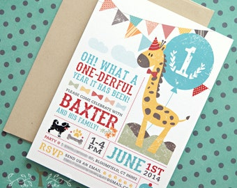 Animal Birthday Card / First birthday, baby birthday, giraffe, elephant, bunting flags, bow-tie, vintage chic / set of 30