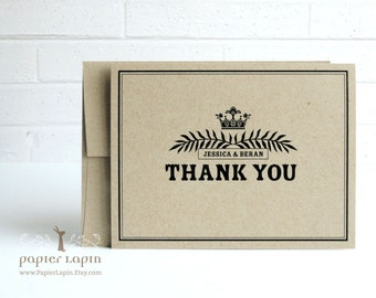 Crown Thank You Card / Set of 40 / 100% recycled kraft paper, European flair, rustic charm