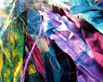 Sari Silk Multi Colored Tie-Dyed Recycled Silk Ribbon