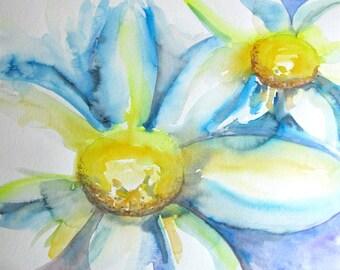 """Daisies - original watercolor painting 14""""x 19"""""""