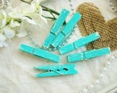 Mint & Cream (Green/Ivory) Distressed Mini 2 Inch Clothespins Set of 6 - Beach Cottage Wedding. Cottage Home Decor. Shabby Chic Banner.