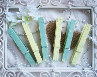 Sage & Lemon (Green/Yellow) Distressed Clothespins Variety 6 Pack - Rustic Kitchen. Wedding Place Card Holder. Shabby Chic Banner.
