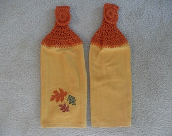 Crocheted Topped Hanging Kitchen Towels: Fall themed towels- Fall Leaves Towels