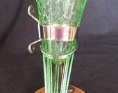 Reduced Price Vintage Translucent Green Floral Design Depression Glass Flower Vase for a 1927 Cadillac with Original Hardware