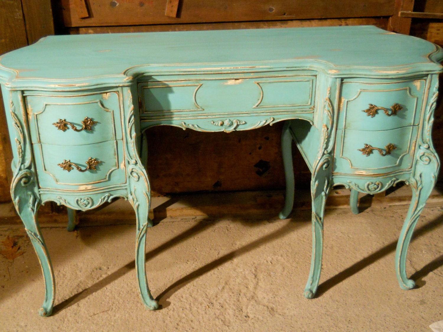 Vintage French Provincial Hand Painted Aqua Desk Reserved