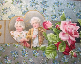 antique postcards - VALENTINE with white haired children and roses - circa early 1900s - pc202