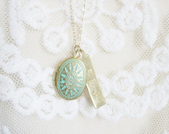 Turquoise locket with personalized brass bar on gold filled chain, modern personalized jewelry