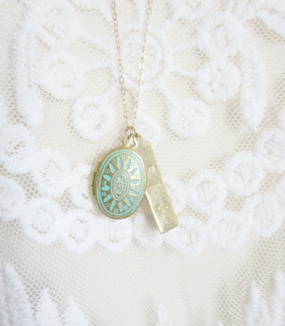 Turquoise Locket with Personalized Bar