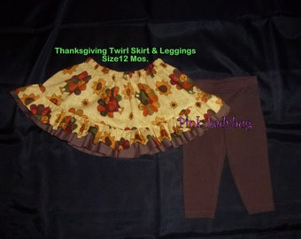 Infant Girls Thanksgiving Skirt with Brown Leggings - Ready to ship in Size 12 Months
