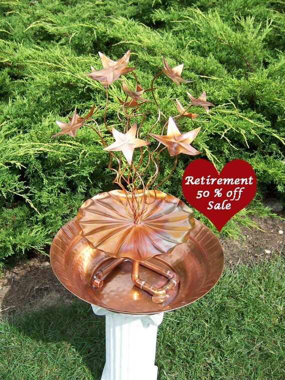 SALE, Garden Art Metal Fountain Birdbath Copper, Copper Bowl, Bursting Stars II