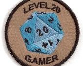 Level 20 Gamer D&D Geek Merit Badge Patch