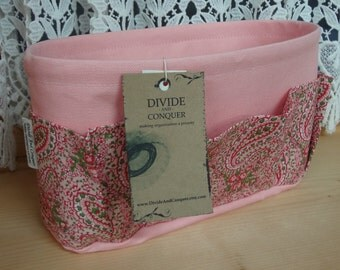 Purse ORGANIZER Insert SHAPER / Bag Organizer / Pastel Pink Paisley / STURDY / 5 Sizes Available /Check out my shop for more colors & styles