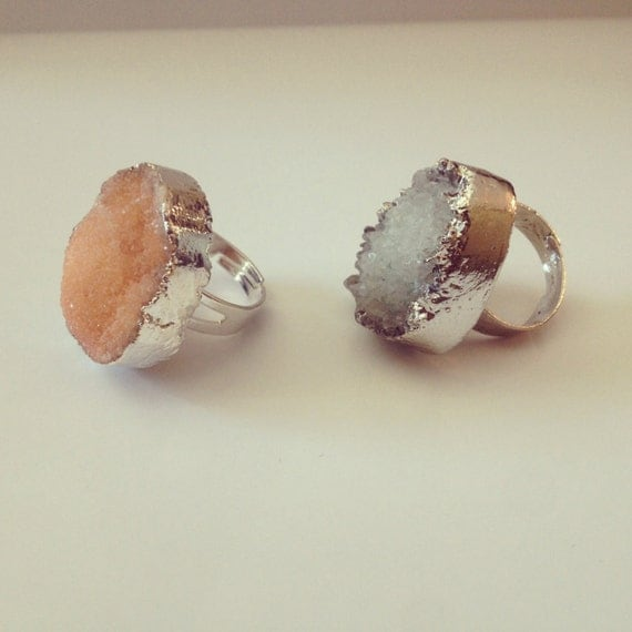 BEAUTIFUL PASTEL silver plated druzy rings, adjustable. Bohemian gypsy chic. quartz. healing crystal soft grunge cocktail