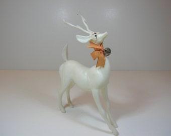 Vintage White Plastic Reindeer