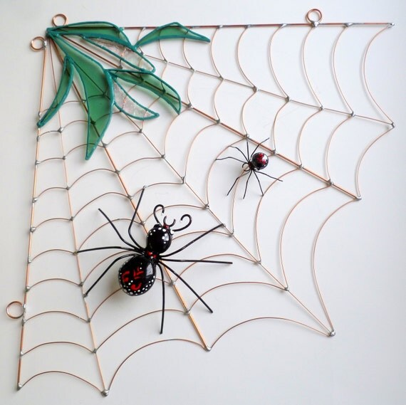 Reserved: Large Handmade Corner Spider Web and Spider With Stained Glass