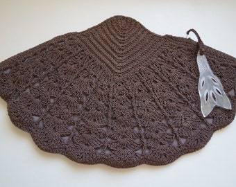Vintage 40s Purse / Chocolate Brown Crochet Corde Purse Carved Lucite Zipper Pull / 1940s Oversized Fan Shaped Clutch Purse