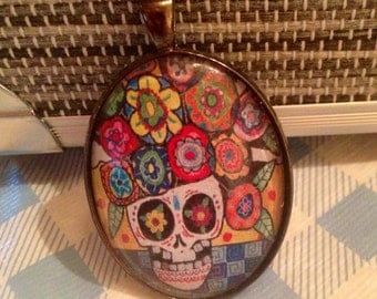 Day of the Dead Sugar Skull Oval Glass Gunmetal Necklace