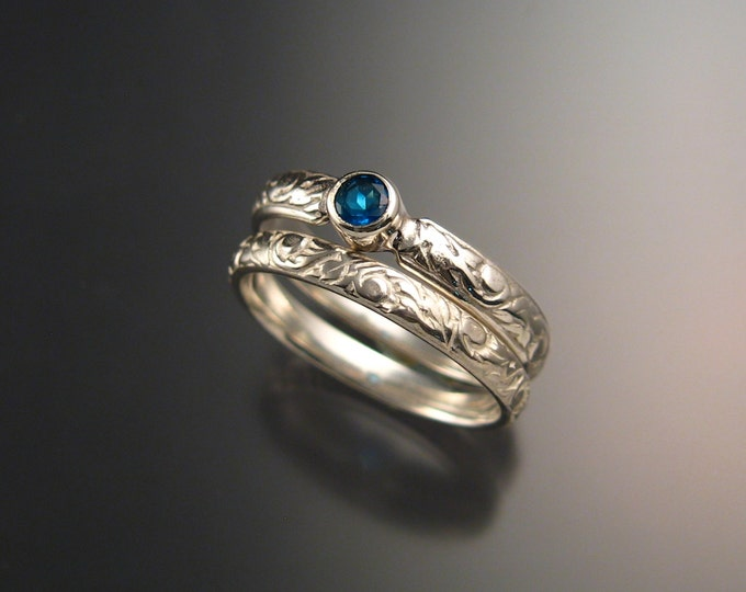 Apatite Wedding set sterling silver Victorian bezel set two ring set Natural Electric Blue Apatite made to order in your size