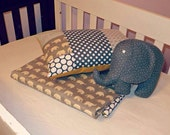 Baby Crib Quilt and Pillow set. Elephants Design- Mustard/Blues/Grays Unisex 100% cotton- ON SALE Ready to Ship