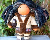 Waldorf Doll Inuit Doll & her little walrus friend...13 Inches All Natural Hand spun Hand dyed Wool Art Yarn Hair