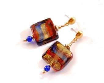 Colorful Murano glass bead earrings Lampwork earrings, glass bead earrings  Rare vintage beads, red blue gold dangle  earrings