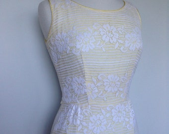 Yellow Cream Lace Spring Summer Rockabilly Pinup Mid Century 50s Vintage Dress