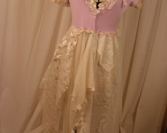 Long Lace Sweater Duster Wild Orchid Color with Vintage Lace Accents and Rolled Roses