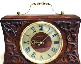 USSR Russian Soviet Clock  - Vesna - Wood - Working Wooden Mantle Carriage Clock - 1960s - from Russia / Soviet Union / USSR