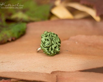 Olive green fabric rosette ring Party ring Fibre Art Flower