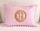Gold Scalloped Monogram Pom Pom Pillow Cover