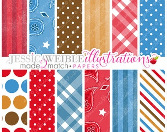 Cowboy Baby Cute Digital Papers - Commercial Use OK - Cowboy Backgrounds - Paisley Papers - Plaid