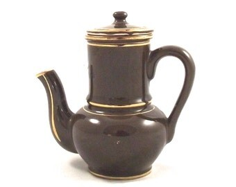 Single Serving Teapot, Vintage Tea for One Size Ceramic Teapot with Two Piece Strainer in Brown and Gold
