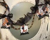 Halloween garland fabric burlap doilies lace elegant black ivory halloween garland banner Cottage Chic home decor glittered halloween letter