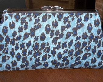 Blue Leopard Print Cotton Clutch Bag