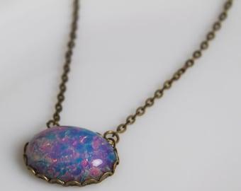 Opal Necklace ... east/west design...vintage opal glass...vintage minimalist