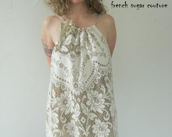 French Sugar Couture - 2014 Spring Collection -  Cream and Taupe Vintage Lace Dress - Altered Couture