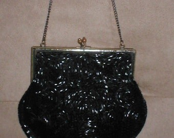 Antique Vintage Black Beaded Evening Purse circa1930's