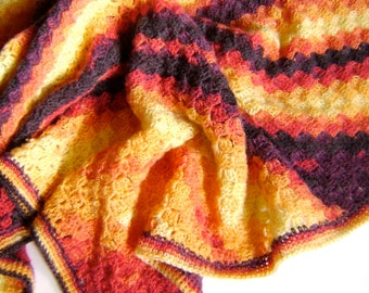 ON SALE - Hand Crocheted Baby Blanket - Beautiful Fall Colors - Perfect for the Baby In Your Life