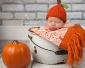 Newborn Pumpkin Hat, Knit Baby Cap Knitted Beanie Infant Fall Photo Prop, Halloween, Autumn, Jack o lantern, Orange, Crochet, Toddler SALE