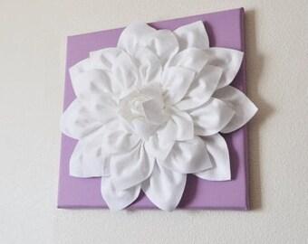 "Wall Flower -White Dahlia on Lilac 12 x12"" Canvas Wall Art- 3D Felt Flower"