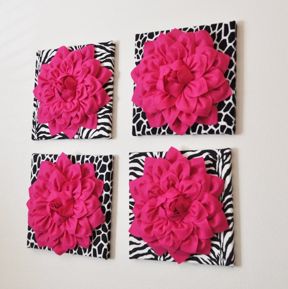 wall decor set of four hot pink dahlias on black and by