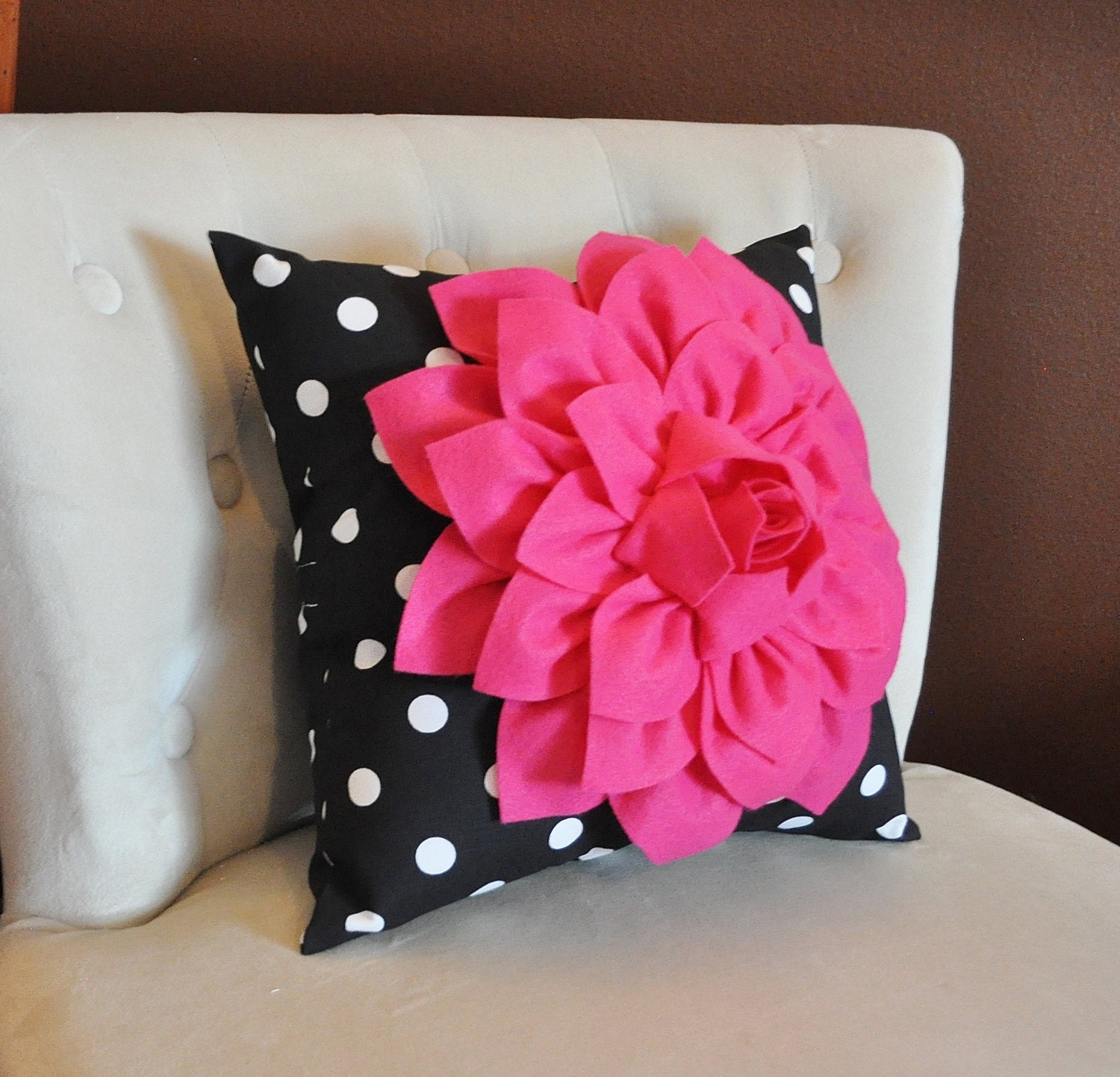 Hot Pink Flower on Black and White Polka Dot Pillow