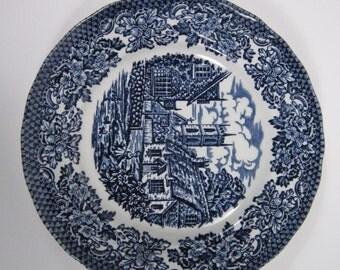 Vintage Blue Glaze English Porcelain Plate