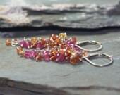 Gemstone Earrings Padparadscha Sapphire Ruby Sterling Silver Pink Orange Cluster Waterfall Wire Wrapped Earrings