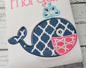 Whale applique embroidery design