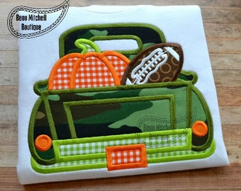 Fall Truck applique embroidery design