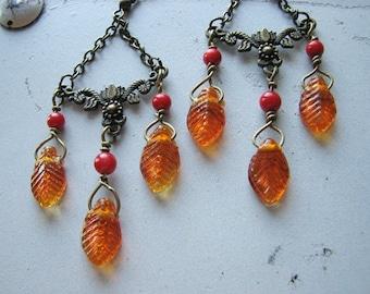 Leaf earrings | autumn | orange | fall | dangle | woodland | boho chic | chandelier | final sale