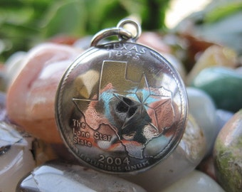 Domed Antiqued Texas Quarter Pendant with Handmade Sterling Silver Bail MADE TO ORDER.